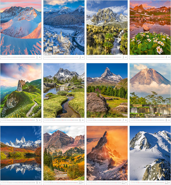 Calendrier mural 2021 Mountains 13p 31x52cm Images